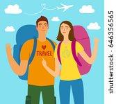 cartoon travelers girl and boy... | Shutterstock .eps vector #646356565