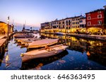 harbor of lazise - italy - stock photo
