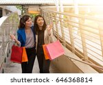 two young business women with... | Shutterstock . vector #646368814