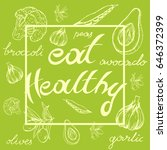 inscription healthy food  half... | Shutterstock .eps vector #646372399