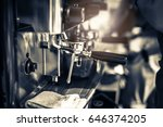 barista making coffee grinding... | Shutterstock . vector #646374205