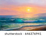 morning on sea  wave ... | Shutterstock . vector #646376941