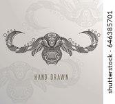 patterne buffalo head on... | Shutterstock .eps vector #646385701