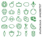 vegetarian icons set. set of 25 ... | Shutterstock .eps vector #646388707
