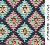 seamless hand drawn tribal... | Shutterstock .eps vector #646391425