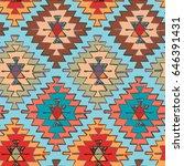 seamless hand drawn tribal... | Shutterstock .eps vector #646391431