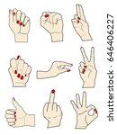 Set Of Gestures Of Female Hand...