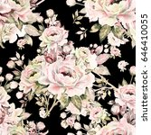 seamless pattern of bouquets of ... | Shutterstock . vector #646410055