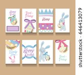 greeting card set for easter... | Shutterstock .eps vector #646413079