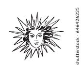 the sun with a woman's face.... | Shutterstock .eps vector #646426225