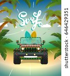surfing car on the beach   Shutterstock .eps vector #646429351