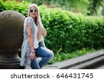 stylish blonde woman wear at... | Shutterstock . vector #646431745