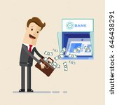 businessman withdrawing money... | Shutterstock .eps vector #646438291