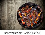 top view of fresh meat and... | Shutterstock . vector #646445161