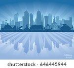 Stock vector doha qatar city skyline vector silhouette illustration 646445944
