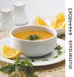 lentils soup with   turkish soup | Shutterstock . vector #646448065