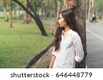 beautiful young woman listening ...   Shutterstock . vector #646448779