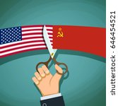 human hand with scissors cuts... | Shutterstock . vector #646454521