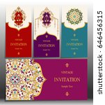 invitation card templates with...   Shutterstock .eps vector #646456315