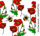 seamless poppy pattern with a...