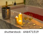 two glasses of champagne with... | Shutterstock . vector #646471519