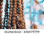rudraksha mala prayer beads....   Shutterstock . vector #646479799