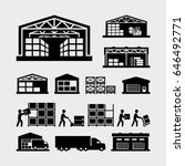 warehouse vector icons   | Shutterstock .eps vector #646492771