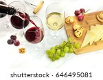 red wine poured into a glass... | Shutterstock . vector #646495081