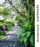 Small photo of Concrete walkways the two sides full of foliage beautiful trees flowers and plants all along the way.