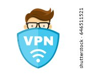vpn protect safety concept. man ... | Shutterstock .eps vector #646511521