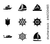 set of 9 yacht filled icons... | Shutterstock .eps vector #646520485