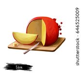 Edam Cheese On Wooden Board...
