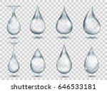 set of transparent drops in