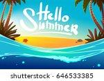 hand draw beach background.... | Shutterstock .eps vector #646533385