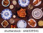 set the table for dinner salmon ... | Shutterstock . vector #646539541