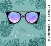 realistic sunglasses. palm... | Shutterstock .eps vector #646545775