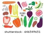 hand drawn vegetables isolated... | Shutterstock .eps vector #646549651