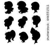 set of silhouettes of a female... | Shutterstock .eps vector #646551511