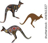 kangaroo is the animal symbol... | Shutterstock .eps vector #646561327