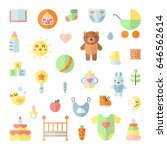 baby  girl and boy  cute big... | Shutterstock .eps vector #646562614