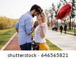 young loving couple dating...   Shutterstock . vector #646565821