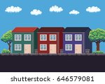 pixel art 8 bit three two... | Shutterstock .eps vector #646579081
