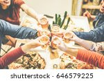 group of friends enjoying... | Shutterstock . vector #646579225