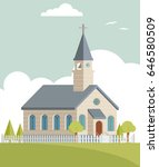 cute church building with cloud ... | Shutterstock .eps vector #646580509