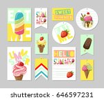 set of summer greeting cards ... | Shutterstock .eps vector #646597231