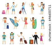 people and couples travelling ... | Shutterstock .eps vector #646600711