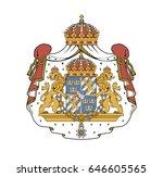 national coat of arms of sweden.... | Shutterstock .eps vector #646605565