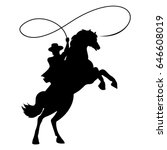 cowboy silhouette with rope... | Shutterstock .eps vector #646608019