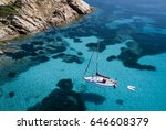 aerial view of a boat in front... | Shutterstock . vector #646608379