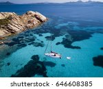 aerial view of a boat in front...   Shutterstock . vector #646608385